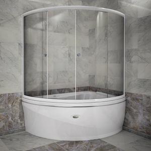 """Шторка на ванну """"Альбена"""" с хромированным профилем"""
