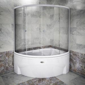 "Шторка на ванну ""Лоуэл"" с белым профилем"