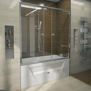 """Шторка на ванну """"Ларедо 170х78"""" с хромированным профилем"""