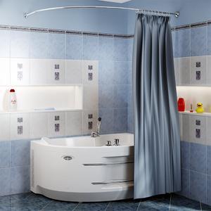 """Карниз Chrome для шторки на ванну """"Ирма 169х110"""""""